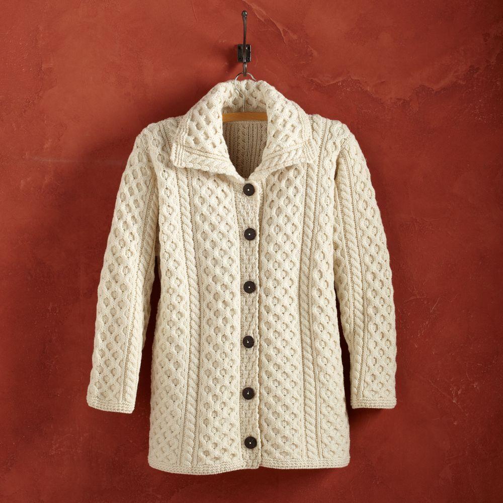 Women's Irish Aran Merino Wool Long Cardigan | Vests, Wool and Jackets