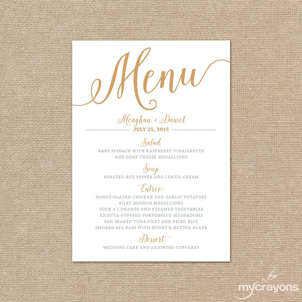 Gold wedding menu cards wedding menu template gold
