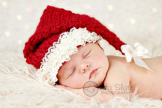 Newborn Christmas Photo Prop Girl Santa Hat Baby by bitOwhimsy ... b2262e09e2a