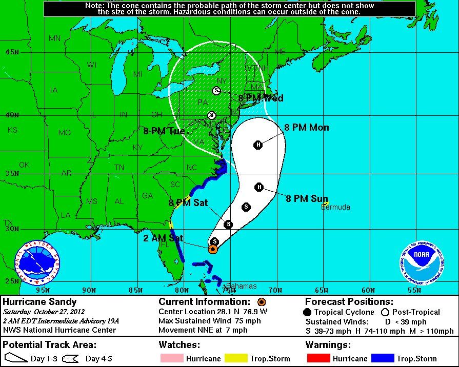 Forecast Map 10 27 12 Tropical Storm One Hurricane Hurricane Season