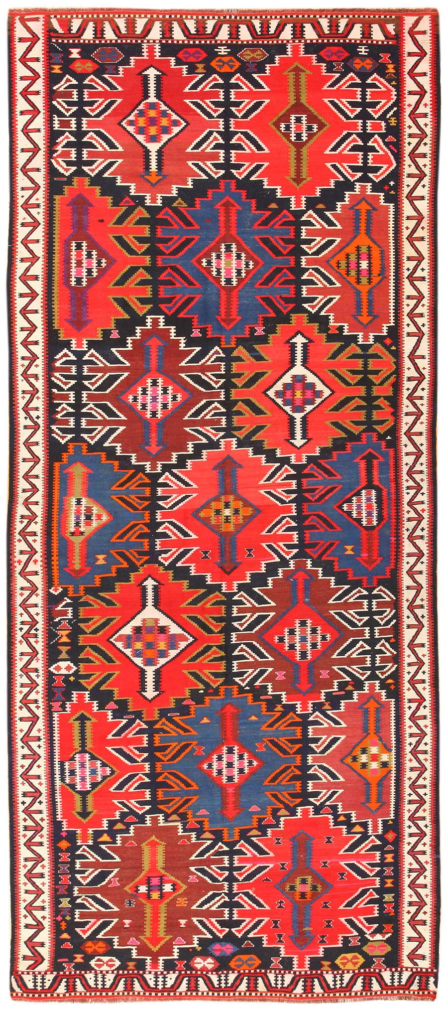 antique tribal turkish kuba kilim rug 50421 | antique rugs