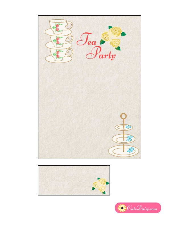 Free Printable Tea Party Invitation with Roses | Free Printable ...