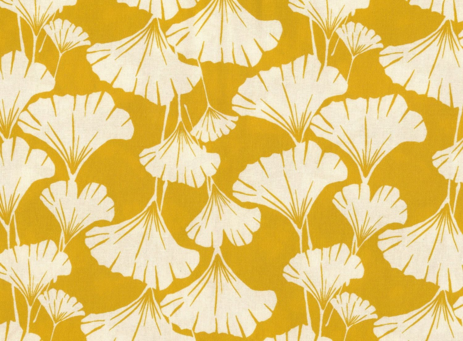 Ginkgo leaves print fabric -mustard yellow-one yard-quilting