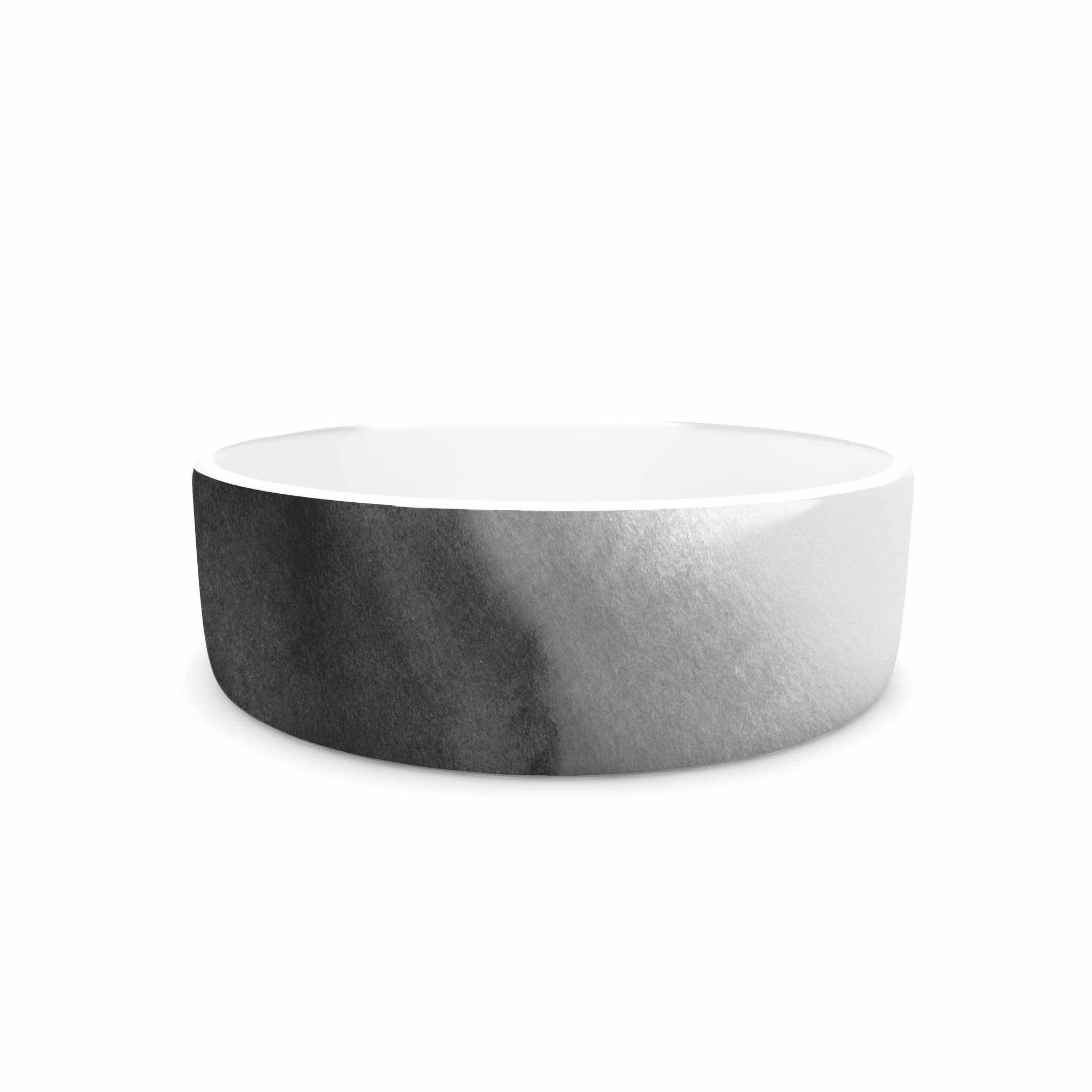 """Draper """"Ombre Ink Wash"""" Gray Black Pet Bowl"""