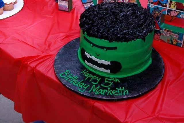 Super Heroes Birthday Party Ideas Hulk cakes Hero and Cake