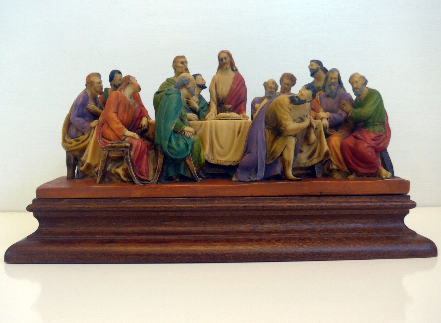 Vintage Last Supper 3D Sculpture Signed Religious Hand Painted