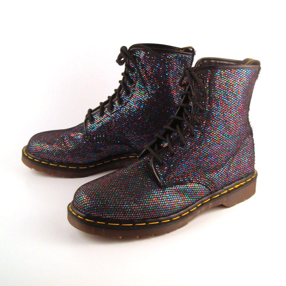 Glitter doc martens vintage 1990 black glitter dr boots uk