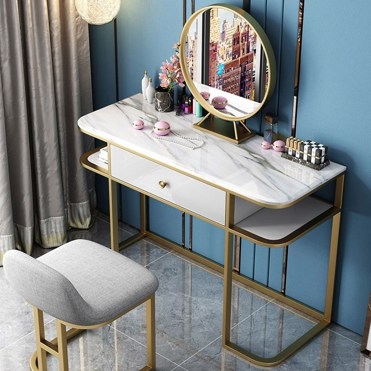 Faux Marble Tabletop Dressing Makeup Table With Mirror Drawer Chair Included Metal Base In Gold Small Large Makeup Table With Mirror Table Top Design Mirror Drawers
