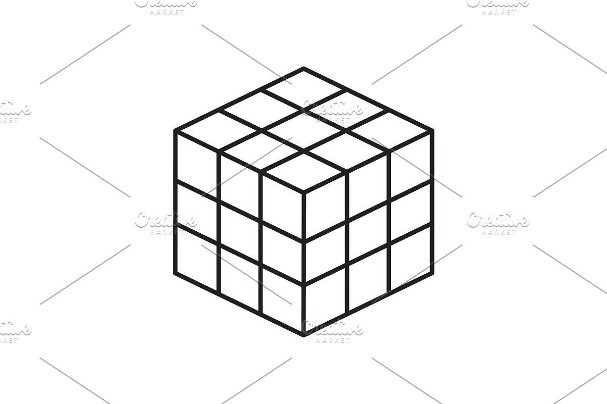 Rubik S Cube Vector Line Icon In