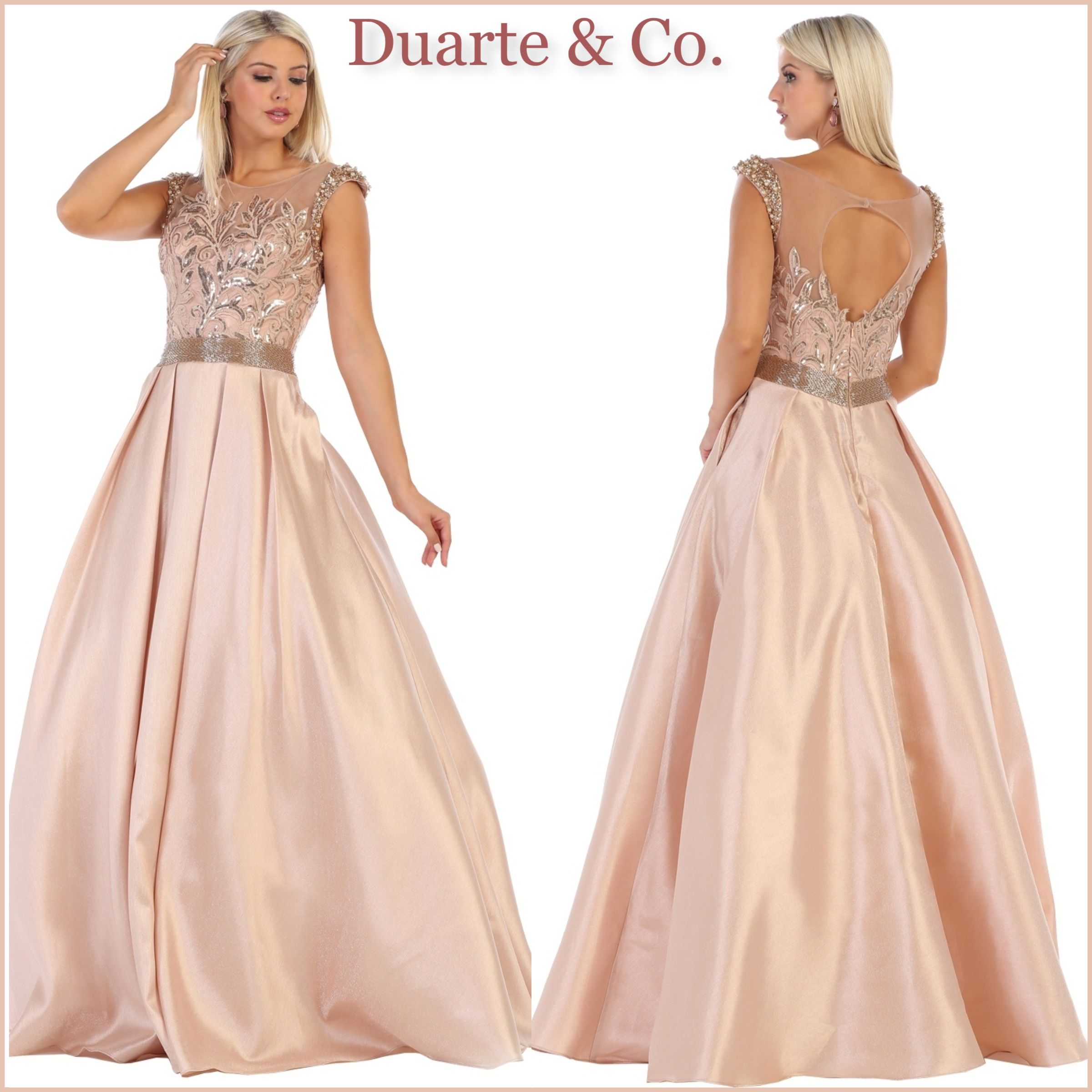 b279f4f6a99b DC177061 $250.00 Amazing Satin Ball Gown has hand beaded sequin  embroideries on top & waist over mesh material with long pleated satin  skirt with side ...