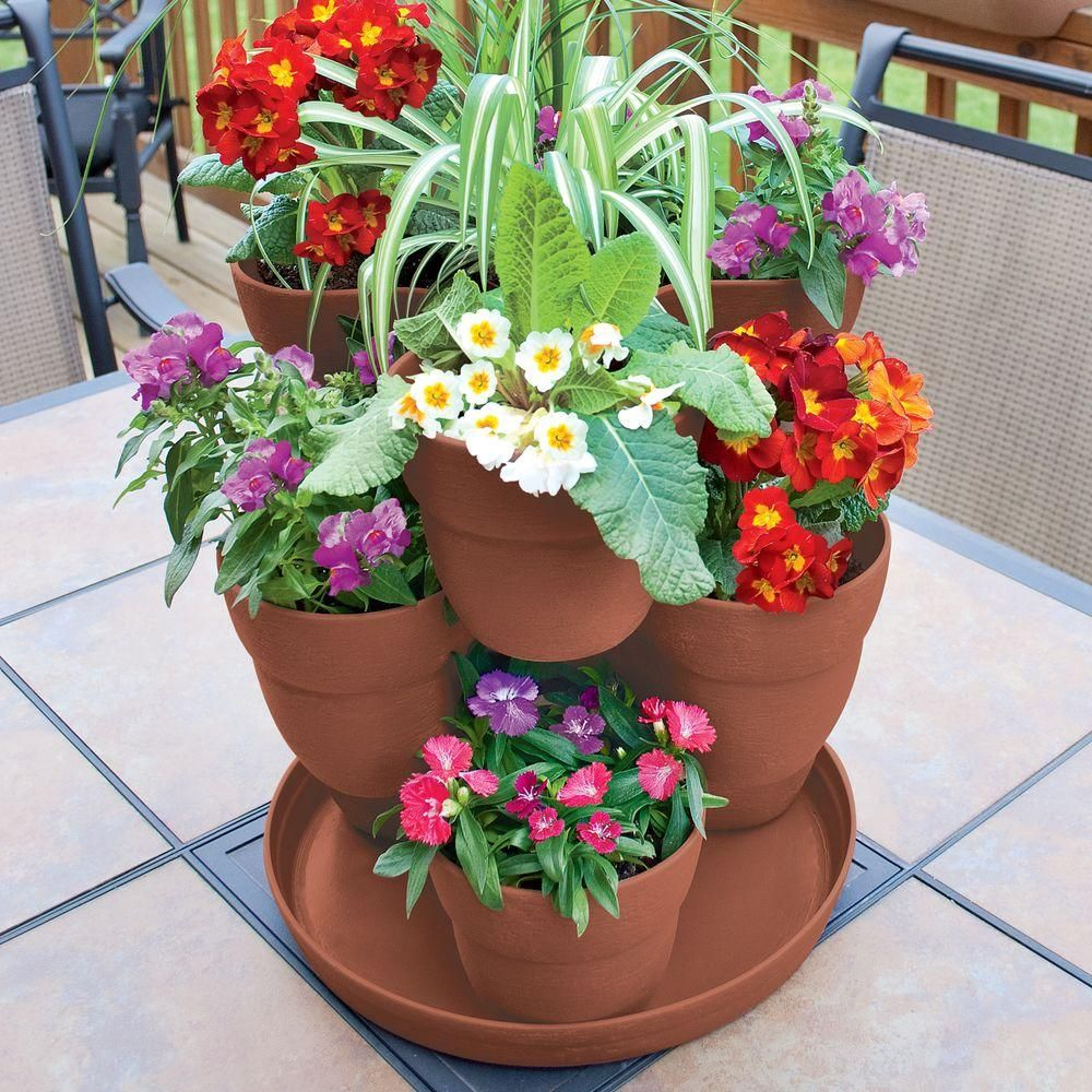 Emsco 13 In 3 Tier Resin Flower And Herb Vertical Gardening Planter In Terra Cotta 2381 1 The Home Depot Flower Pot Tower Flower Tower Flower Pots