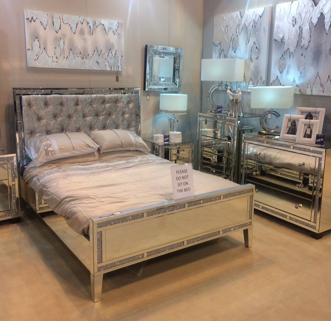 Crushed Diamond Mirrored King Size Bed Frame Crushed Diamond