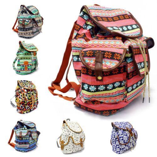 Damen-Canvas-Rucksack-Tasche-Schultertasche-Schulrucksack-Backpack-Vintage-NEU