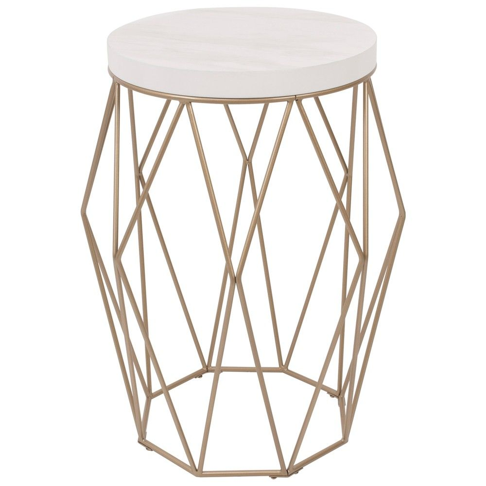 Geometric Wire Accent Table With Faux Marble Top Gold Silverwood