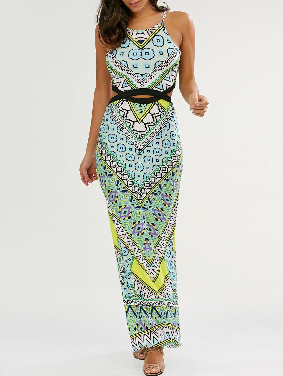 Cut out high slit maxi dress in green sammydress beach wear