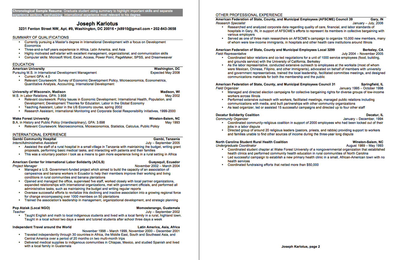 undergraduate sample cv    resumesdesign com