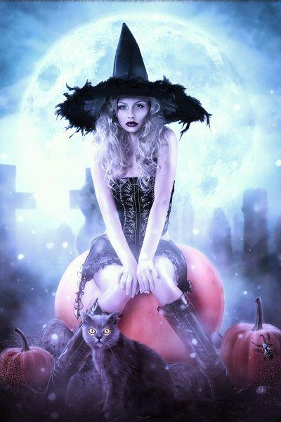 Pumpkin Halloween Witch by brandrificus (print image)