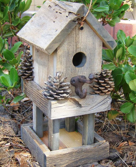 Rustic House And Feeder Combo Rustic House Bird Houses Bird House