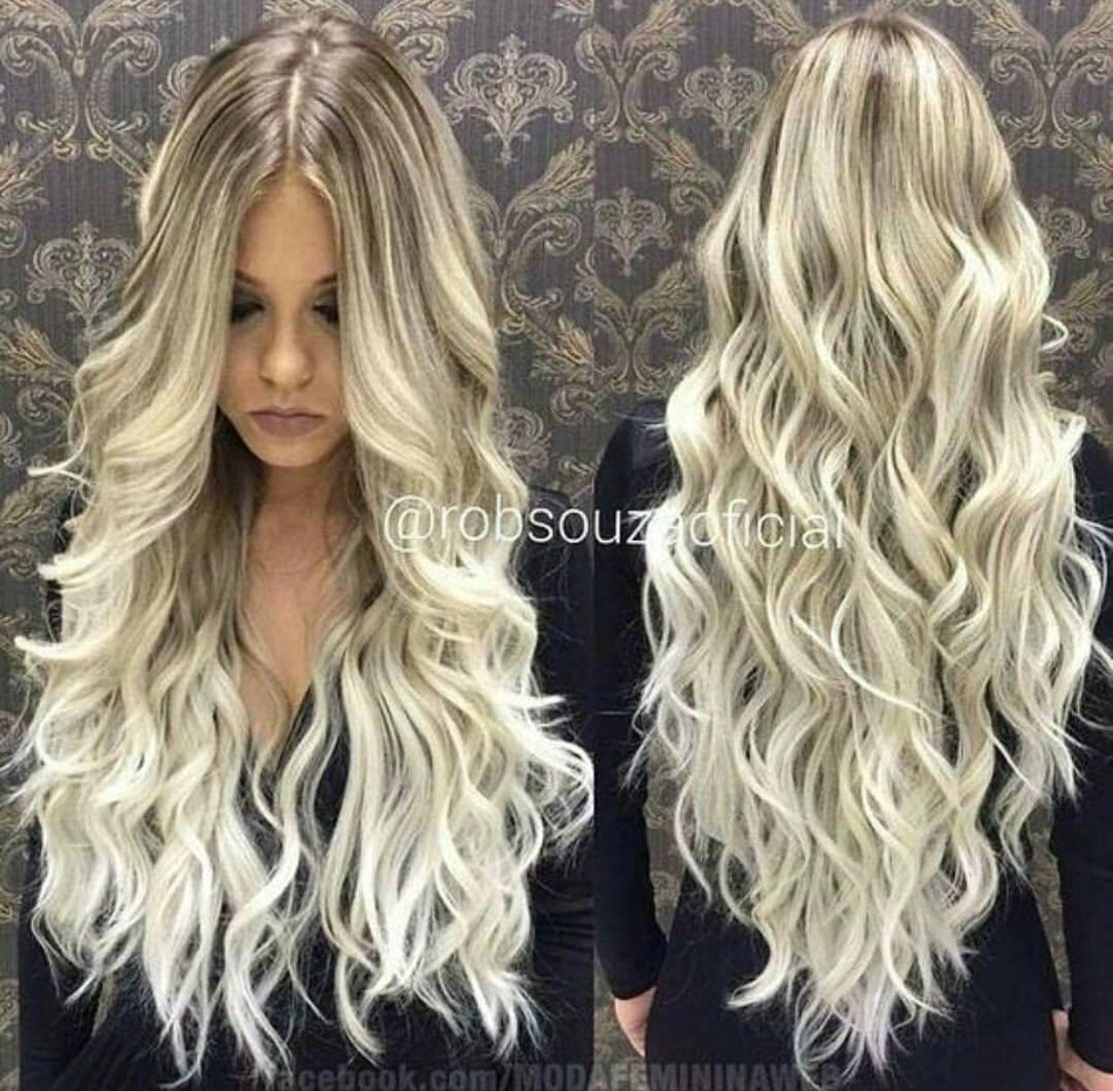 platinum blonde long wavy balayage hair extensions