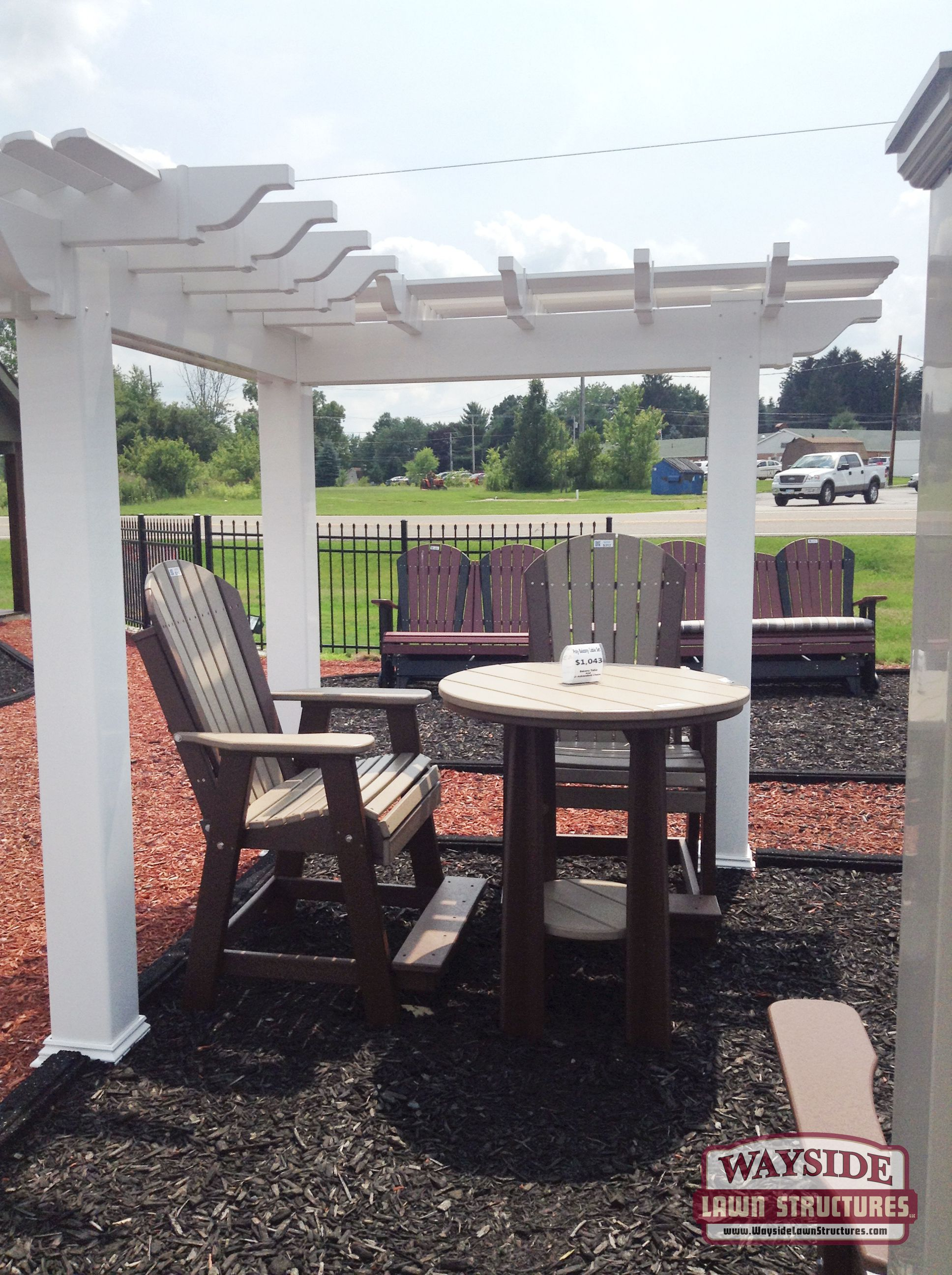 Never Paint Or Stain Or Stain Your Balcony Table Set With Luxcraft Poly Furniture From Wayside Poly Furniture Outdoor Structures Pergola