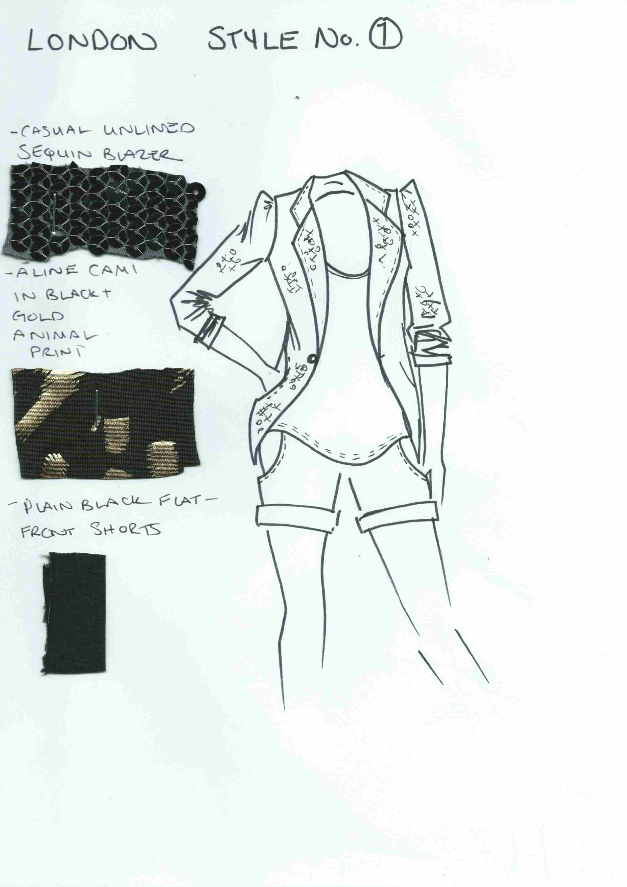 London Style #1 ~ Casual Sequin Blazer & A-Line Cami with Plain Flat Front Shorts