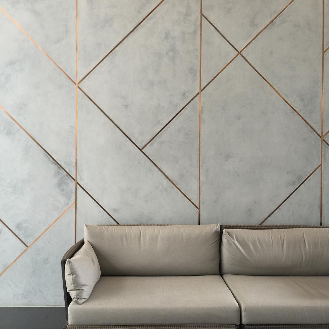 Novacolor Marmorino Plaster With Brushed Copper Inlays