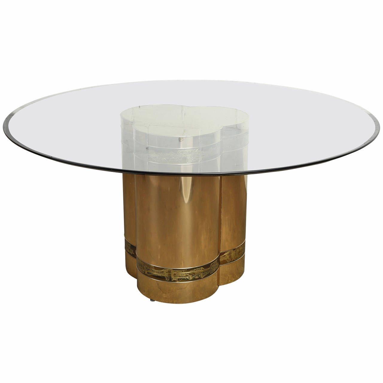 Mastercraft brass dining table - Radiant Acid Etched Brass Dining Table By Bernhard Rohne For Mastercraft