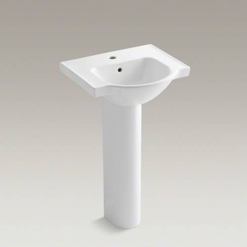 Kohler K 5265 1 Veer 21 Pedestal Bathroom Sink With Single Faucet