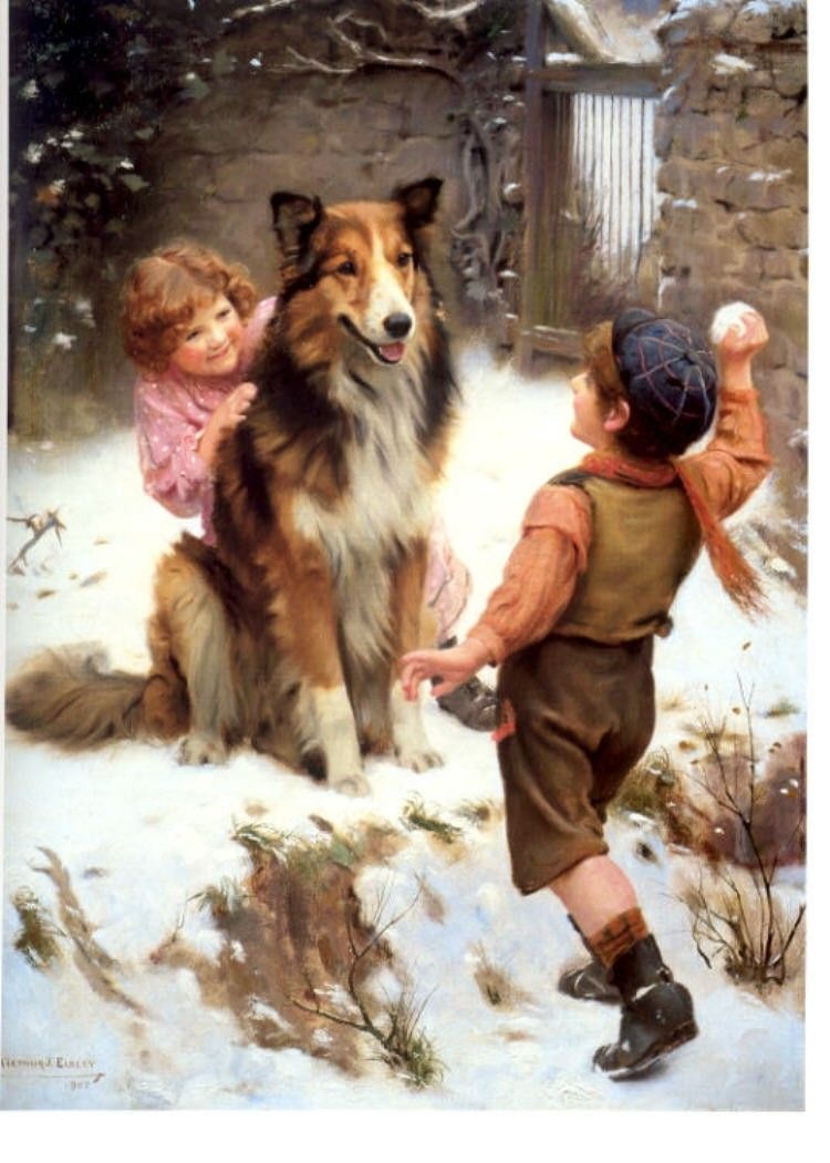 Collie Dog And Kids Snowball Fight Card S How Fun Victorian