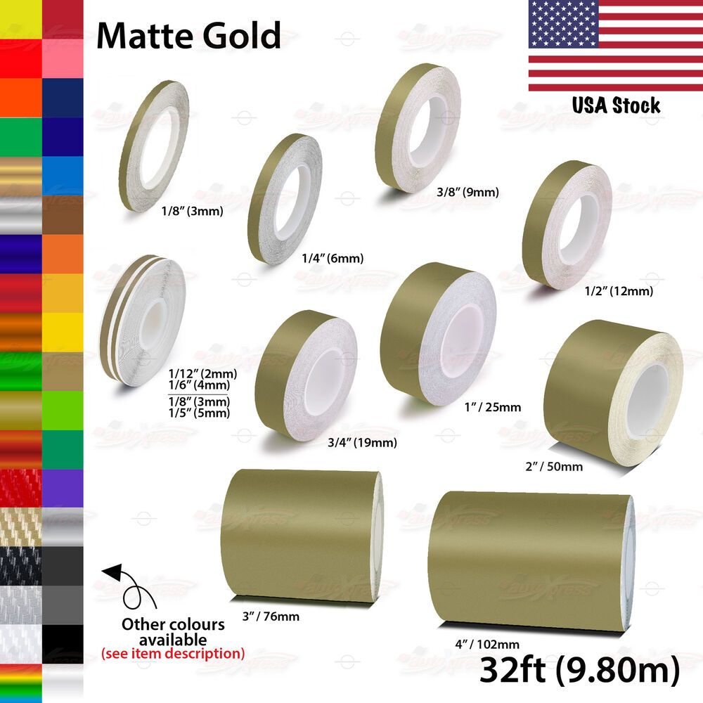 "MATTE GOLD 50mm 2/"" Roll PIN STRIPE Car Striping Line TAPE Decal Vinyl Sticker"