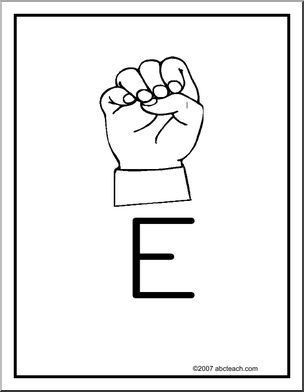 Poster Asl Letter E  American Sign Language Fingerspelling