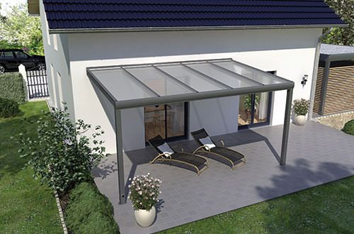Terrassenüberdachung 4m X 2m Mit Unterkonstruktion Aus Pulverbeschichtetem  Aluminium, Vorbereitet Für Glas Mit Dieser Exklusiven ...