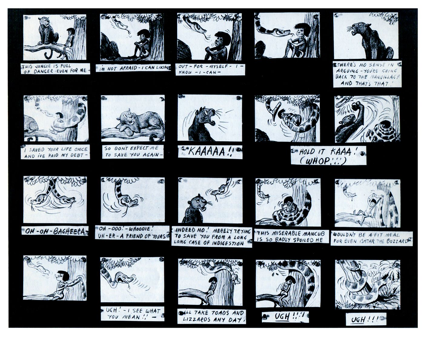 Here is an example of a storyboard from the film The Jungle Book ...