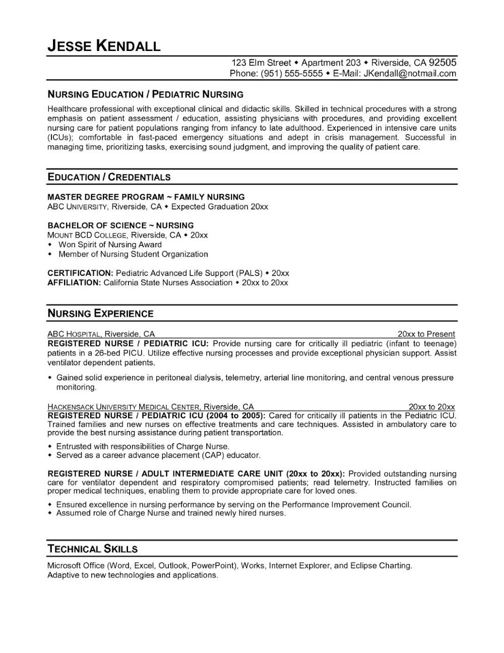 Nursing Resume Examples 2019 New Grad Pdf 2020 Nursing Resume