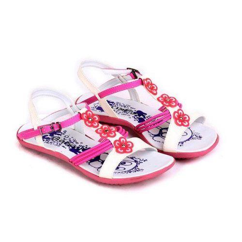 Sepatu Sandal Anak Perempuan Pink Putih Motif Bunga Sepatu Sandal