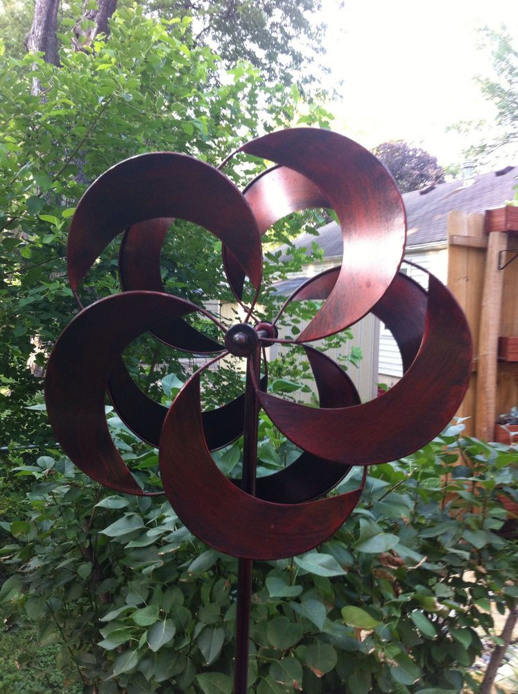 Kinetic Wind Sculpture Floral Burst Flower Spinner Large Metal Outdoor Pinwheel  Garden Sculpture, Wind Sculptures