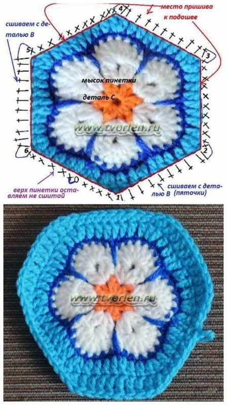 2193e128af35 Связать пинетки крючком из мотивов - просто | африканский цветок