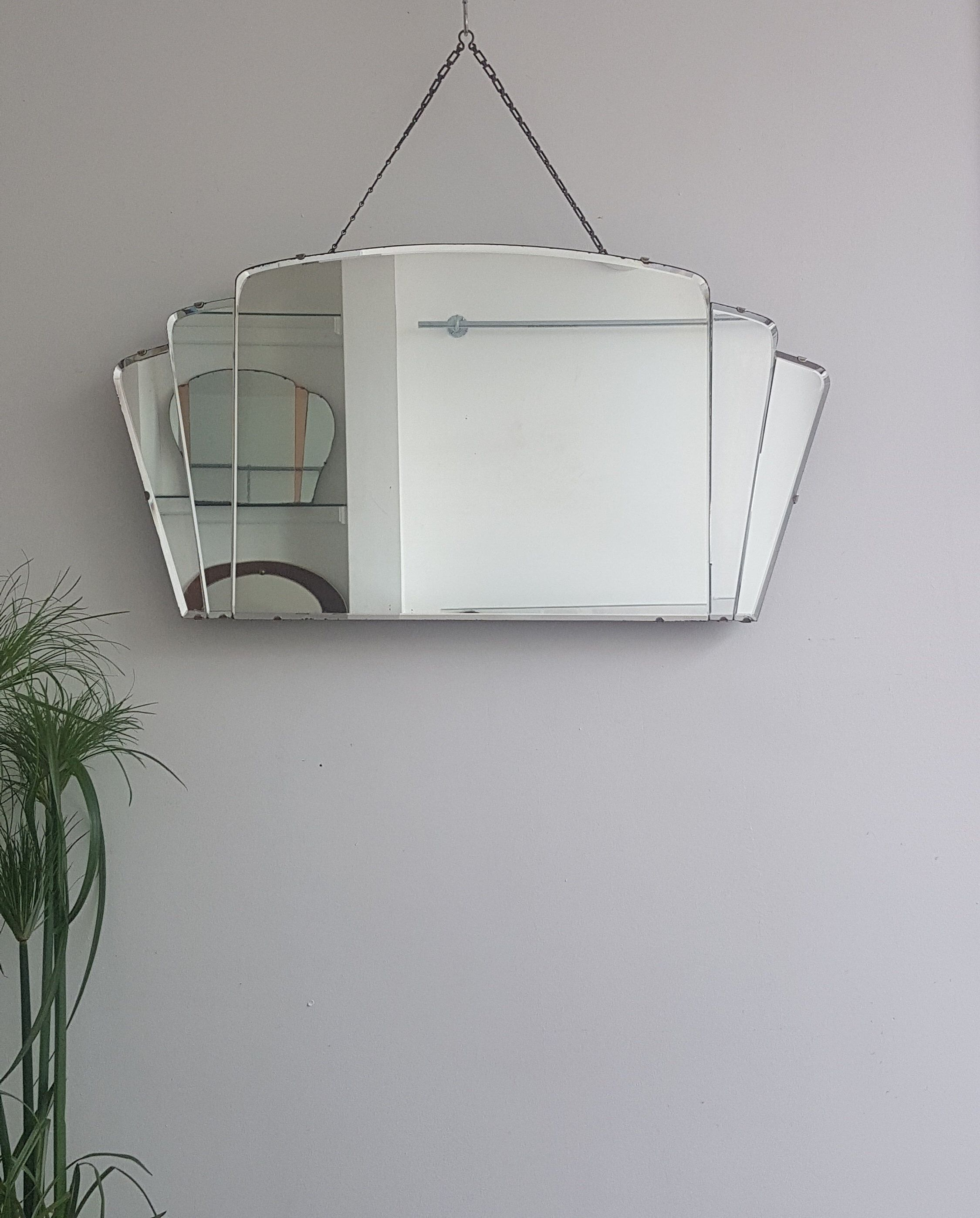 Extra wide art deco fan mirror large mirror with separate glass panels curved bevelled mirror panels