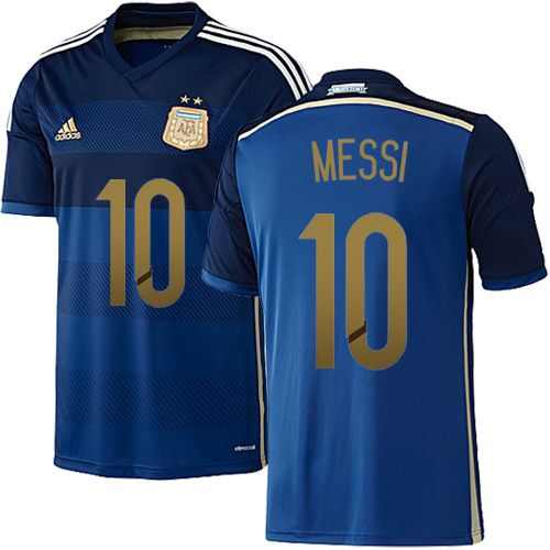 Lionel Messi Argentina Soccer Jersey - 2014 World Cup #10 Adidas Youth  Authentic Navy Away
