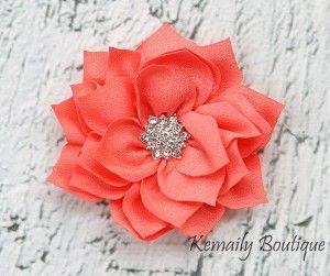 Vintage Coral Satin Flower #kemaily