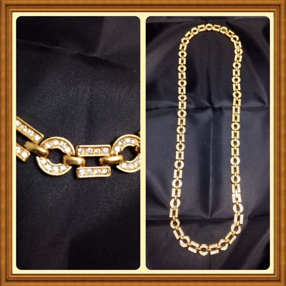 awesome Vintage Necklace Gold Rhinestones 25 Crystal by Cherylscache - Etsy