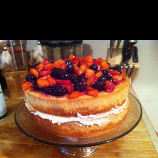 Lemon cake with mascarpone filling and white wine macerated fruit.