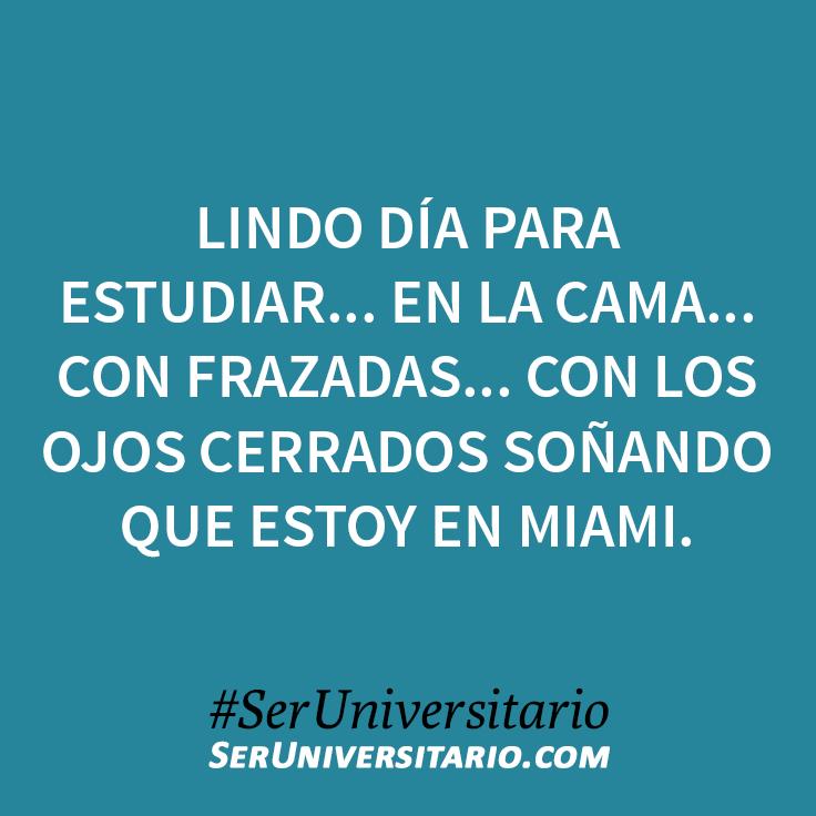 Lindo día para estudiar... en la cama... con frazadas... con los ojos cerrados soñando que estoy en Miami. #SerUniversitario