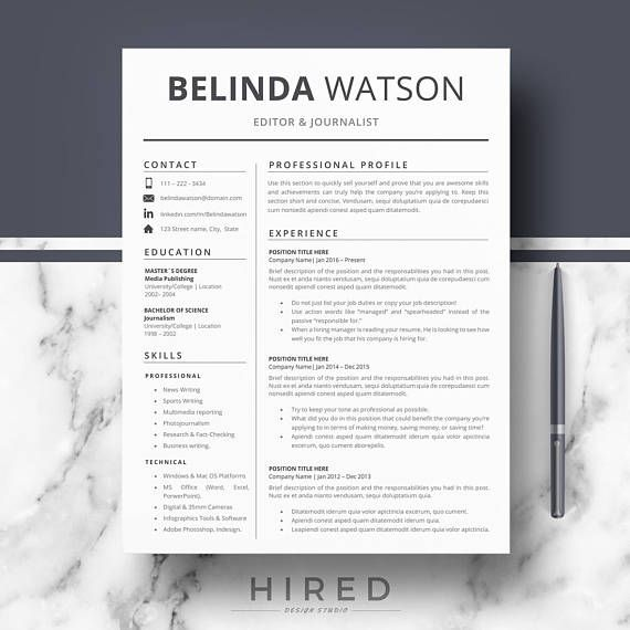 Professional Resume, CV Template; Modern Resume, CV for Word  Pages