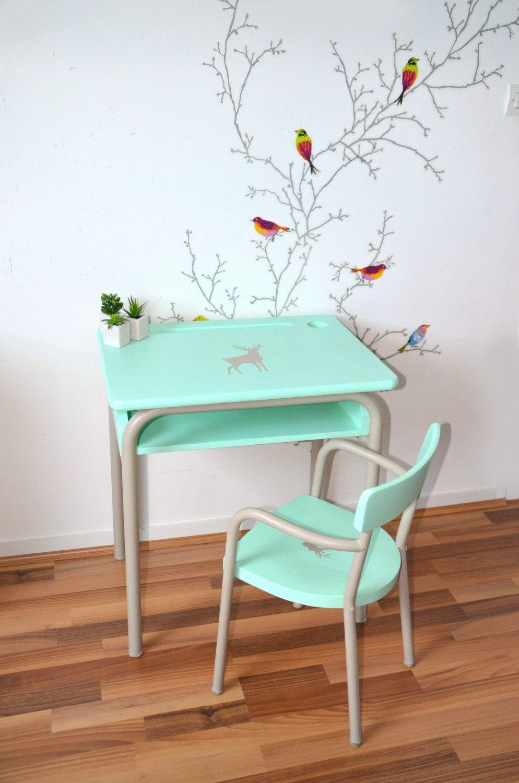 Sofa Chair Child Enfants Vintage Bois Massif Et Taupe - Fauteuil main enfant
