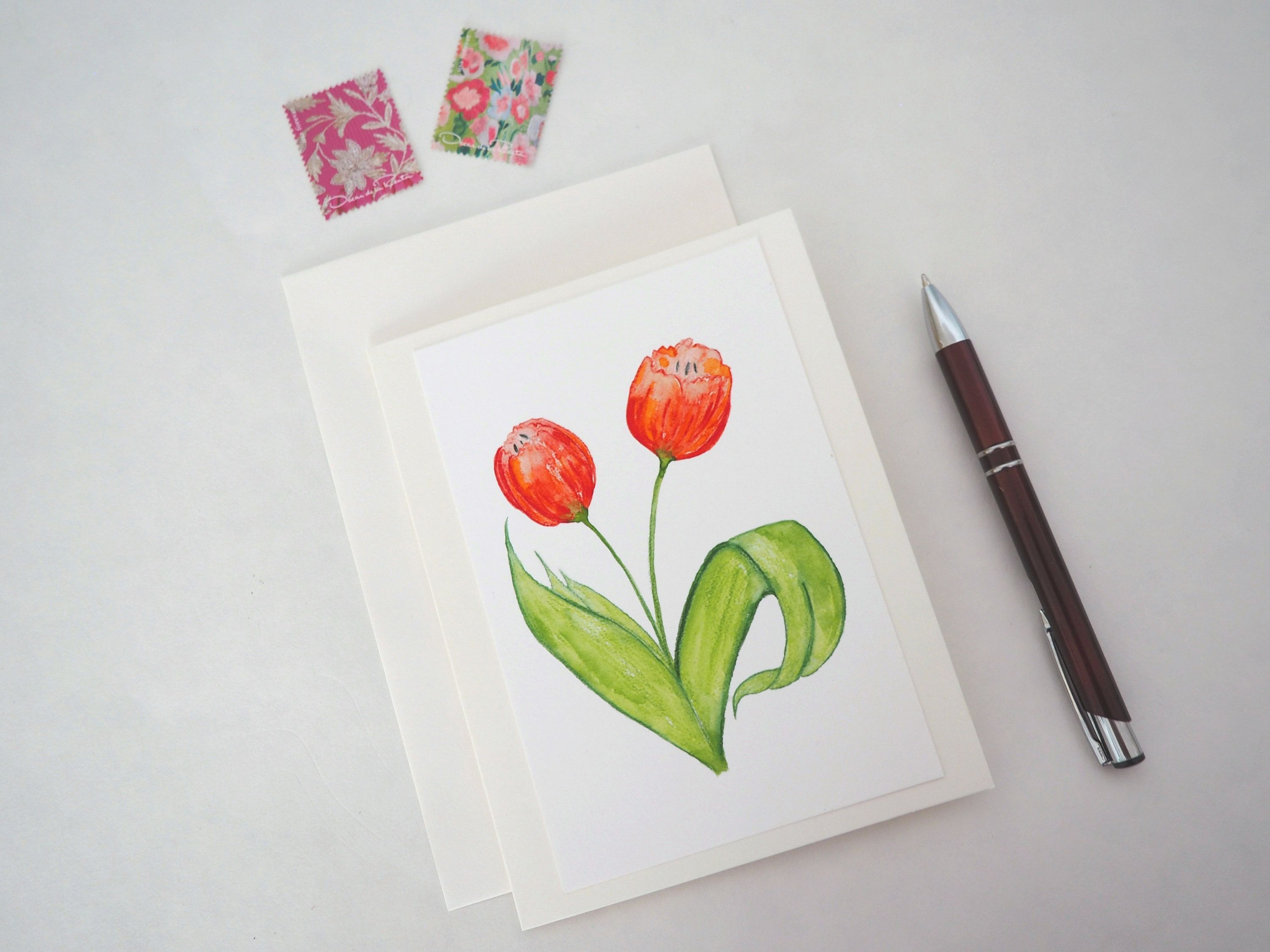 Greeting card handmade note card handpainted card mothers