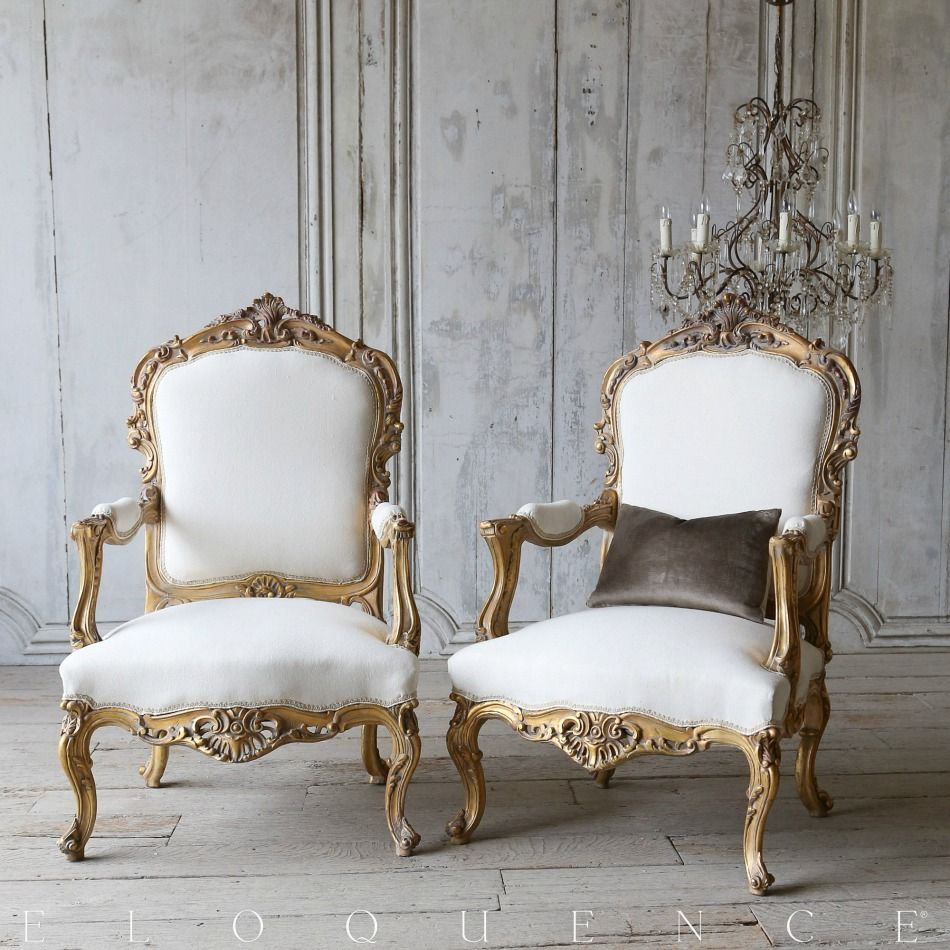 Eloquence One of a Kind Vintage Gilt Louis XV French Style Armchairs ...