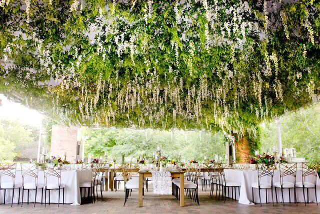 Garden Wedding Venues: Custom Flower Ceiling / Tented Wedding / Outdoor Wedding