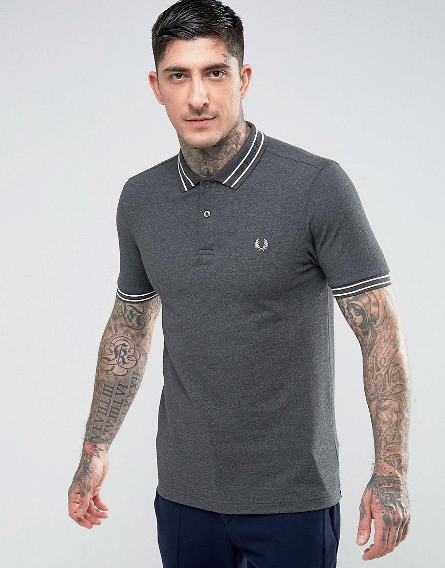 c835ccd8272 Fred Perry Slim Fit Polo With Textured Tipped Collar In Charcoal - Gra