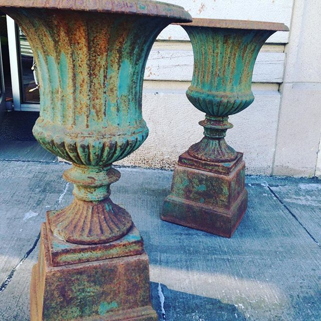 Awesome Antique Cast Iron Garden Urns